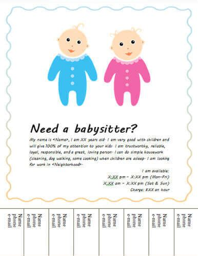 templates for babysitting flyers babysitting poster template cake ideas and designs