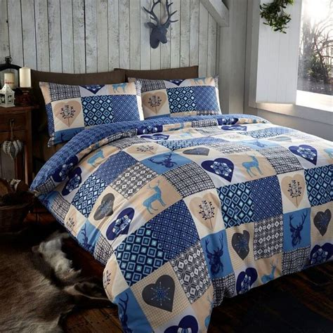 Patchwork Bed Cover - rustic animal stag quilt duvet cover blue