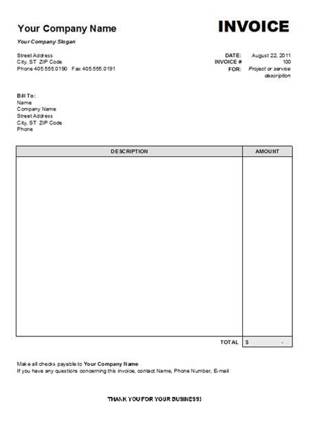 standard invoice template free one must on business invoice templates