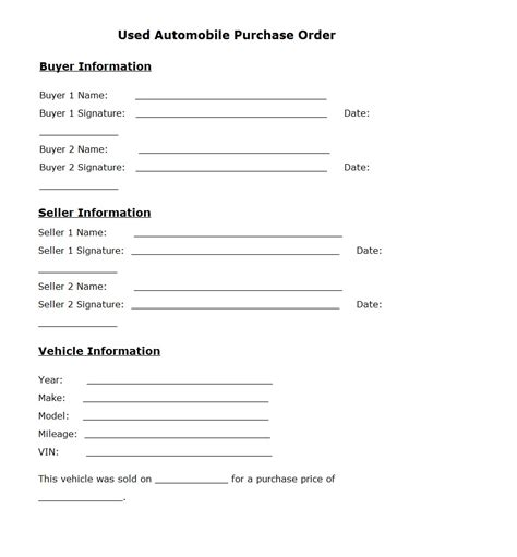 Used Car Purchase Order Template Sle Car Buyers Order Template