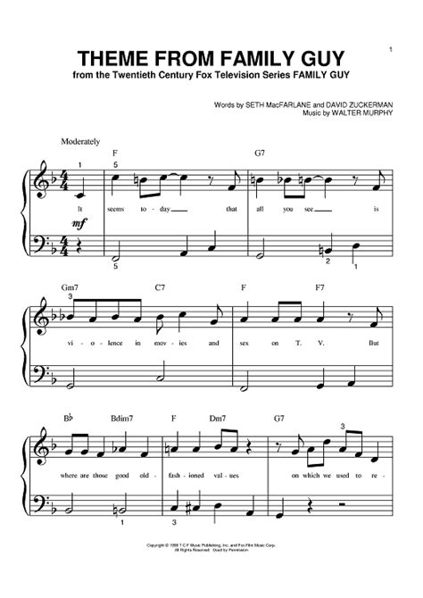 theme song to bloodline theme from family guy sheet music music for piano and
