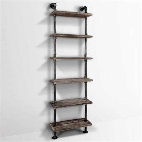 rustic industrial 6 level metal pipe wall shelf buy wall