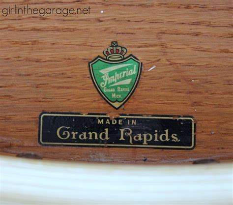 Imperial Furniture Grand Rapids distressed stenciled table makeover in the