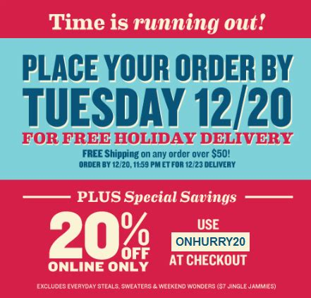 Old Navy Sweepstakes Delivery - old navy com holi deals 20 off christmas delivery deadline info