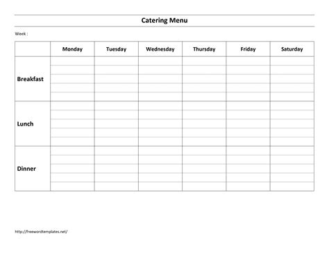 menu checklist template weekly menu template cyberuse