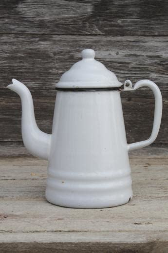 primitive vintage enamelware coffeepot, six cup white
