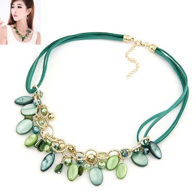 0203d1 Kalung Korea Choker Decorated skeleton green multi oval shape shell bib necklaces asujewelry