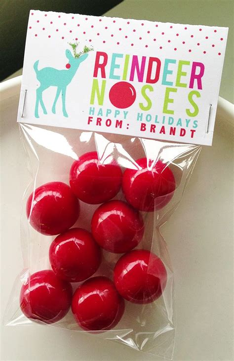 printable reindeer noses bag topper classroom holiday treat free printable bag toppers