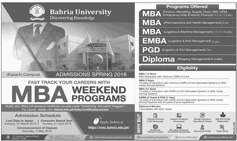 Mba In Healthcare Management In Karachi by Admission Open In Bahria Karachi 26 Feb 2018