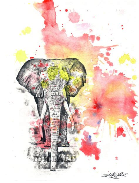 watercolor elephant tutorial elephant art animal watercolor painting 8 x 10 in by