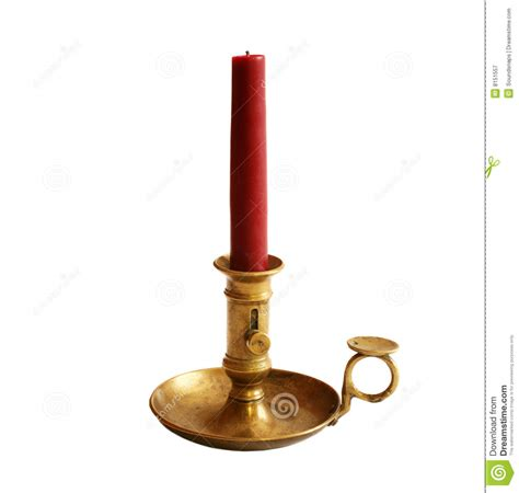 Candle In Holder Antique Brass Candle Holder Royalty Free Stock Photography
