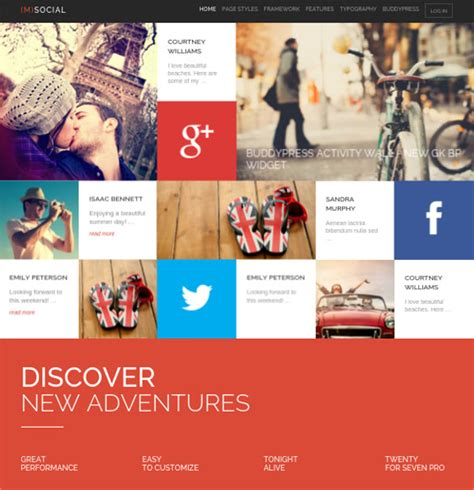 25 social media website themes templates free
