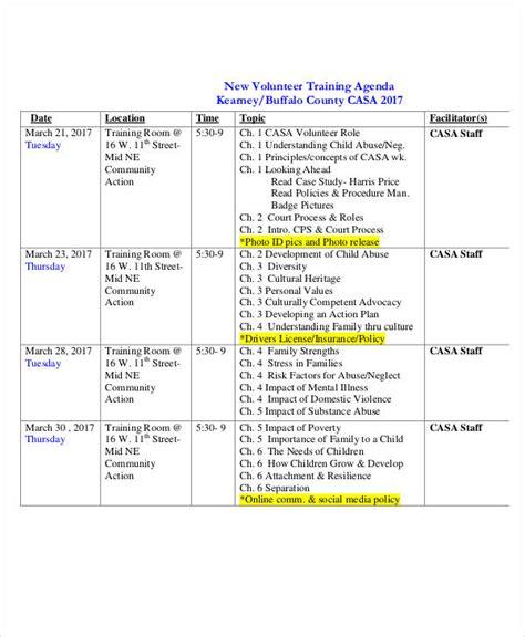 23 Training Agenda Exles Sles Volunteer Program Template