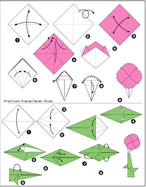 Free Origami Diagrams - origami carnation free origami diagrams