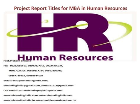 Use Mba In Title by Project Report Titles For Mba In Human Resources
