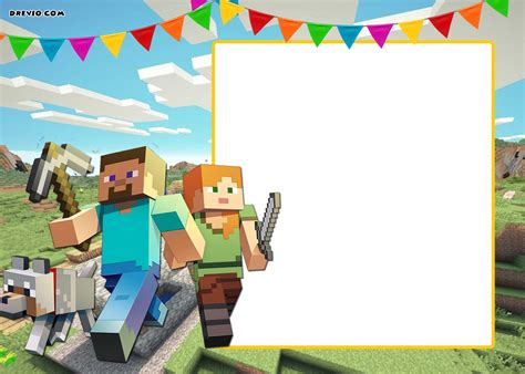 birthday card template minecraft free printable minecraft birthday invitation template