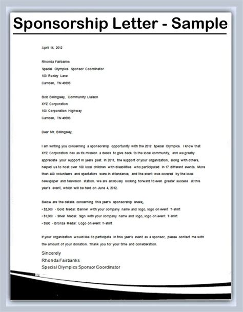 Sponsorship Letter For Youth Conference gallery of sports sponsorship letter sles by mlw38496