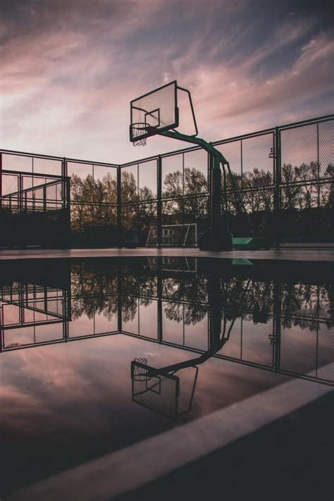 wallpaper basketball court reflection water puddle clouds wallpapermaiden
