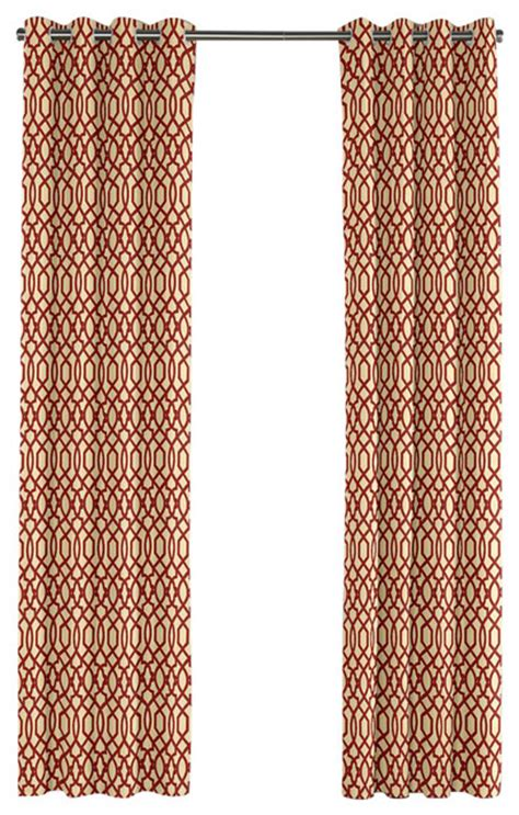 red trellis curtains flocked tan and red trellis grommet curtain contemporary