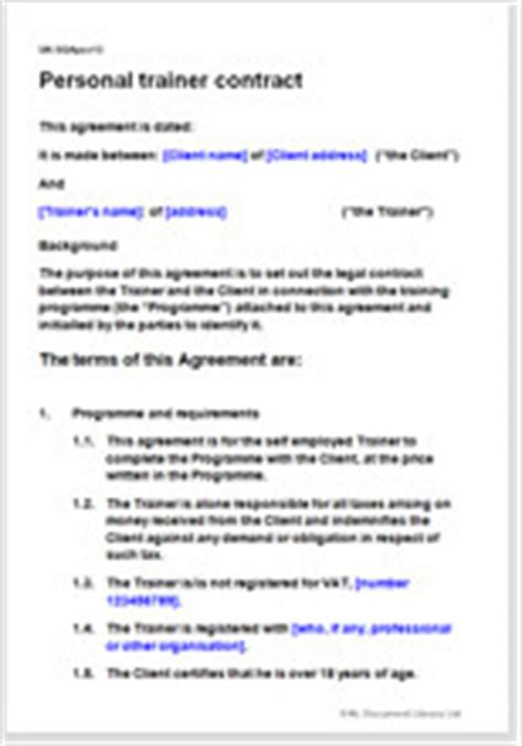 Personal Trainer Contract Template Fitness Coach Agreement Fitness Instructor Contract Template