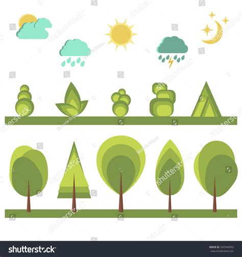 Set Landscape Elements Flat Design Collection Stock Vector 304344992 Shutterstock Tree Collection Of Design Elements Stock Vector Illustration Of Icon Botany 32428346