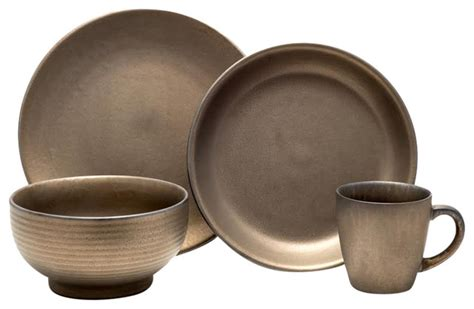 modern dinnerware sets teton 16 dinnerware set rubbed gold modern