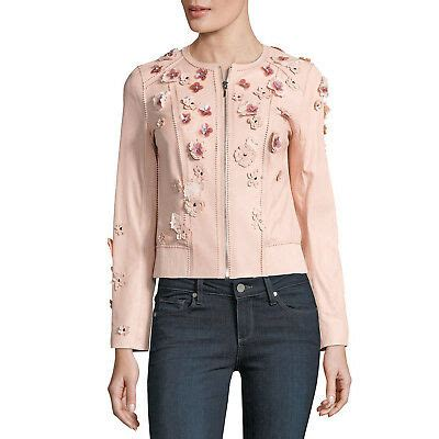 elie tahari leather floral applique glenna jacket ballerina blush pink large  ebay
