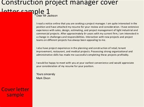 Construction Management Cover Letter Exles by Construction Project Manager Cover Letter