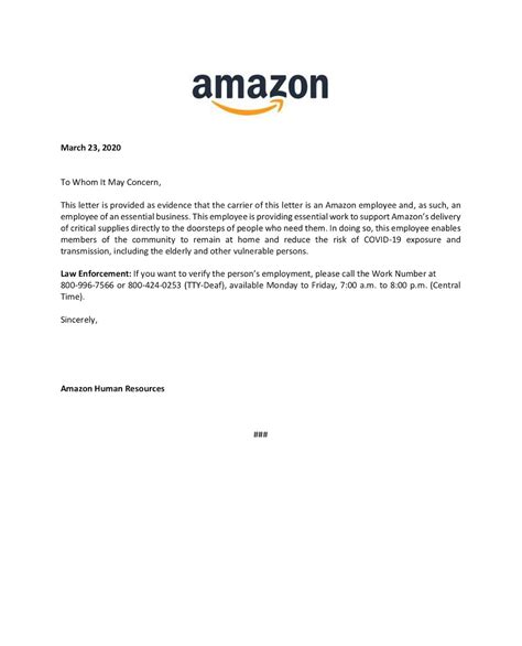 amazon giving workers letter prove