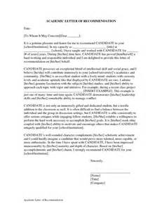 Academic recommendation letter sample character reference template