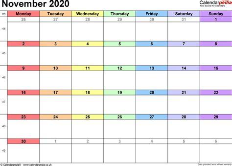 calendar november  uk bank holidays excelpdfword templates