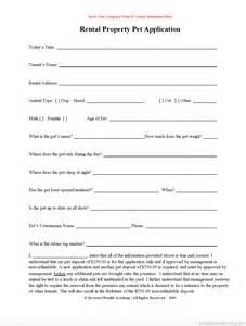 Free printable rental pet application form pdf amp word