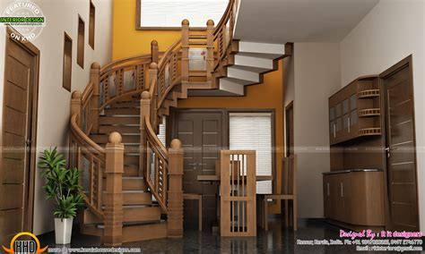 kerala home design staircase under stair design wooden stair kitchen and living