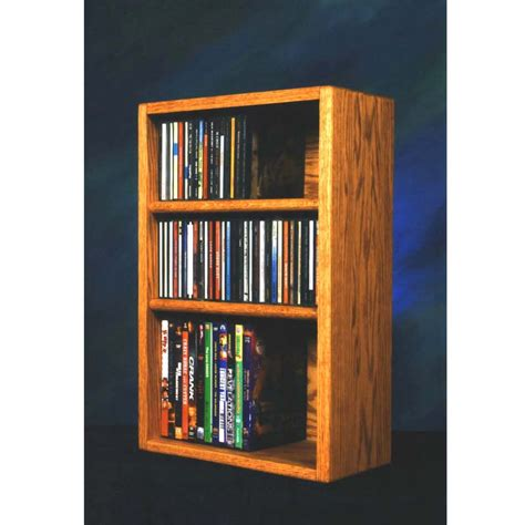 dvd racks wood shed solid oak cd dvd vhs combination rack various