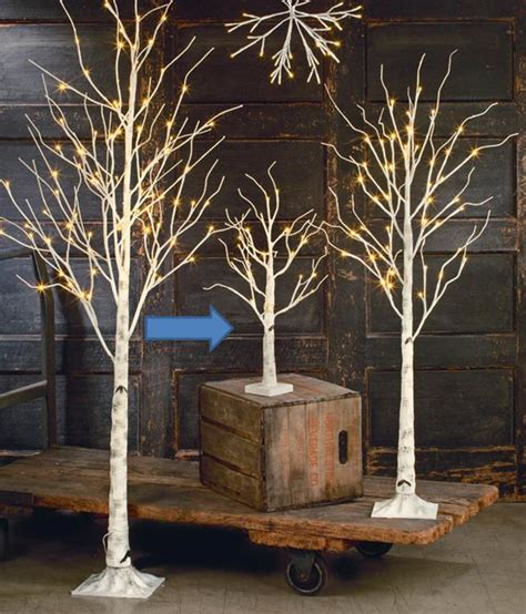 small white tree with lights display tree small lighted white birch set of 3 4 or 5