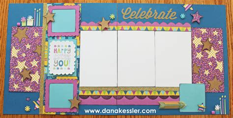 double page scrapbook layout birthday stock photos confetti wishes workshop on the go scraptabulous designs
