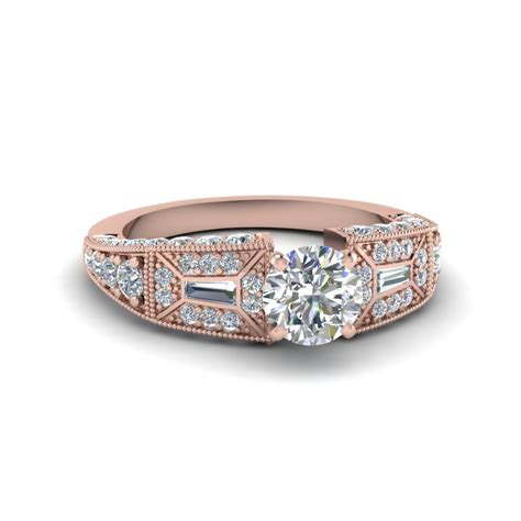 cut pave antique style engagement ring in