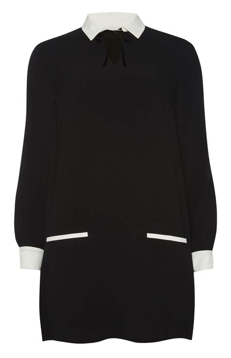 wear this black tie neck shirt collar dress for your
