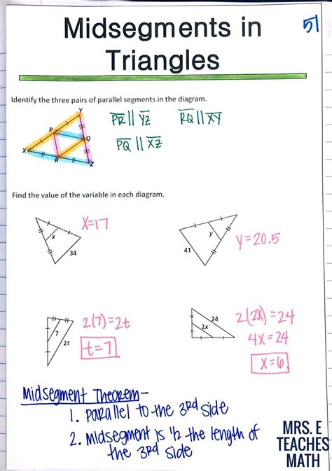 Midsegments And Medians Of Triangles Puzzle Worksheet Gambarsurat