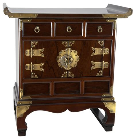 korean antique style 3 drawer end table cabinet