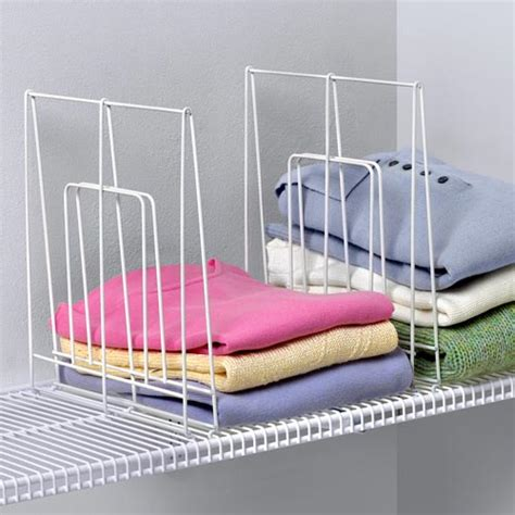 Shelf Dividers For Closets by Large White Wire Shelf Divider In Shelf Dividers
