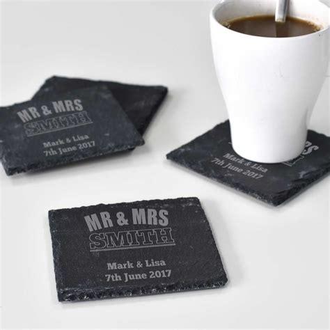 personalised mr and mrs slate coasters