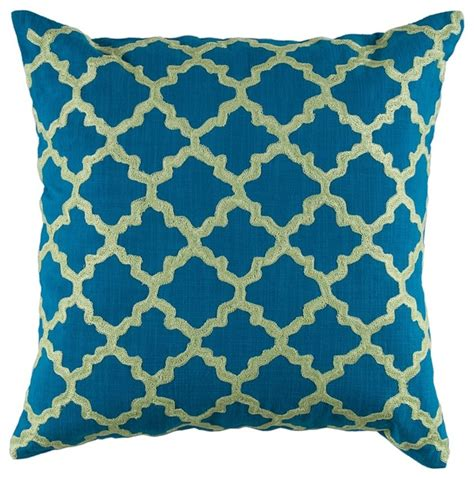 peacock blue lime green graphic design 18 quot x 18 quot pillow