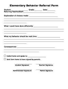 Intermediate Elementary Behavior Referral Form By Cookie S Corner Student Referral Form Template