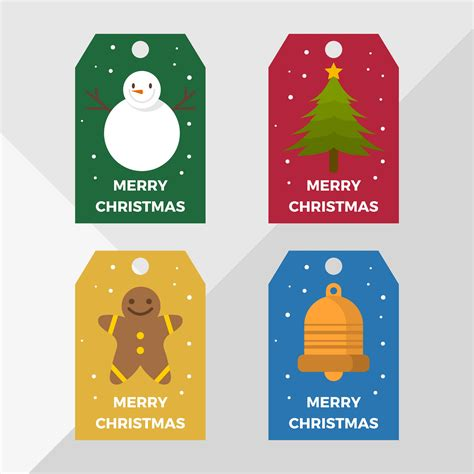 flat christmas holiday gift tags vector template   vectors clipart graphics