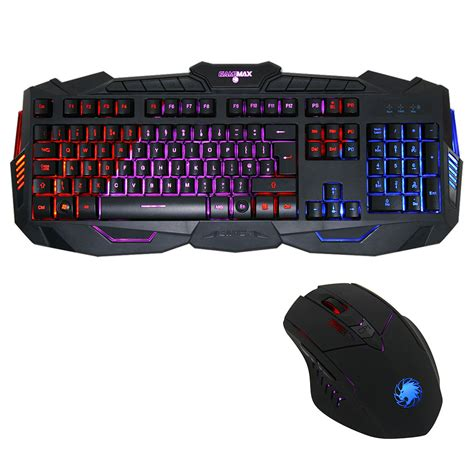 Keyboard And Mouse Gaming max gamer 3 colour led illuminated usb gaming keyboard and mouse black ebay