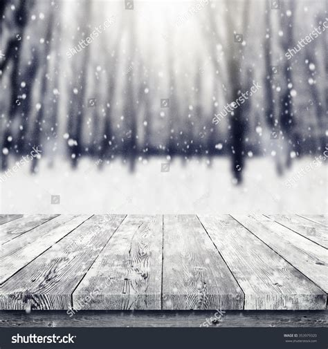 winter table wooden table winter covered stock photo