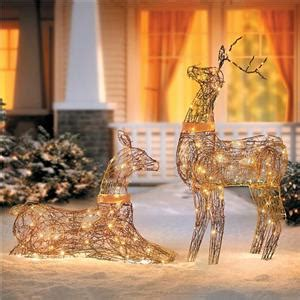 grapevine lighted deer sale set 2 lighted rustic grapevine deer doe buck outdoor yard decor ebay