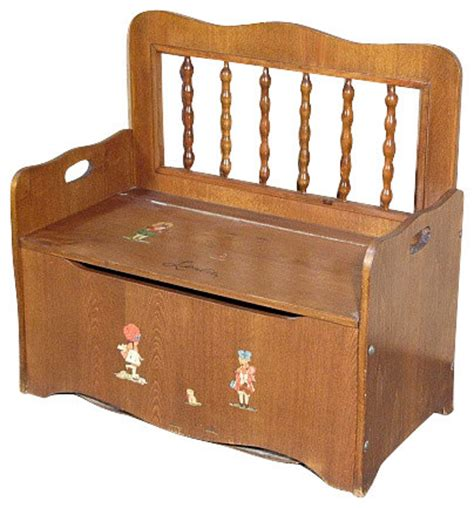kids toy storage bench consigned vintage oak children storage trunk chest seat
