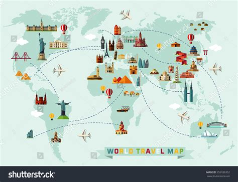 world travel map vector illustration stock vector